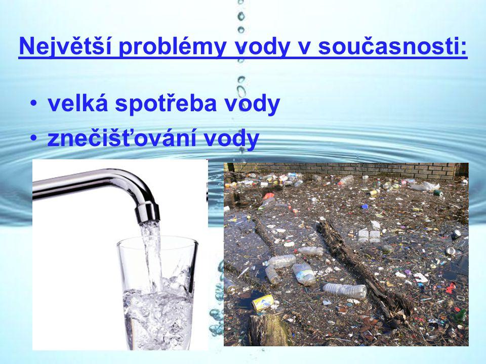Největší problémy vody v současnosti: velká spotřeba vody znečišťování vody