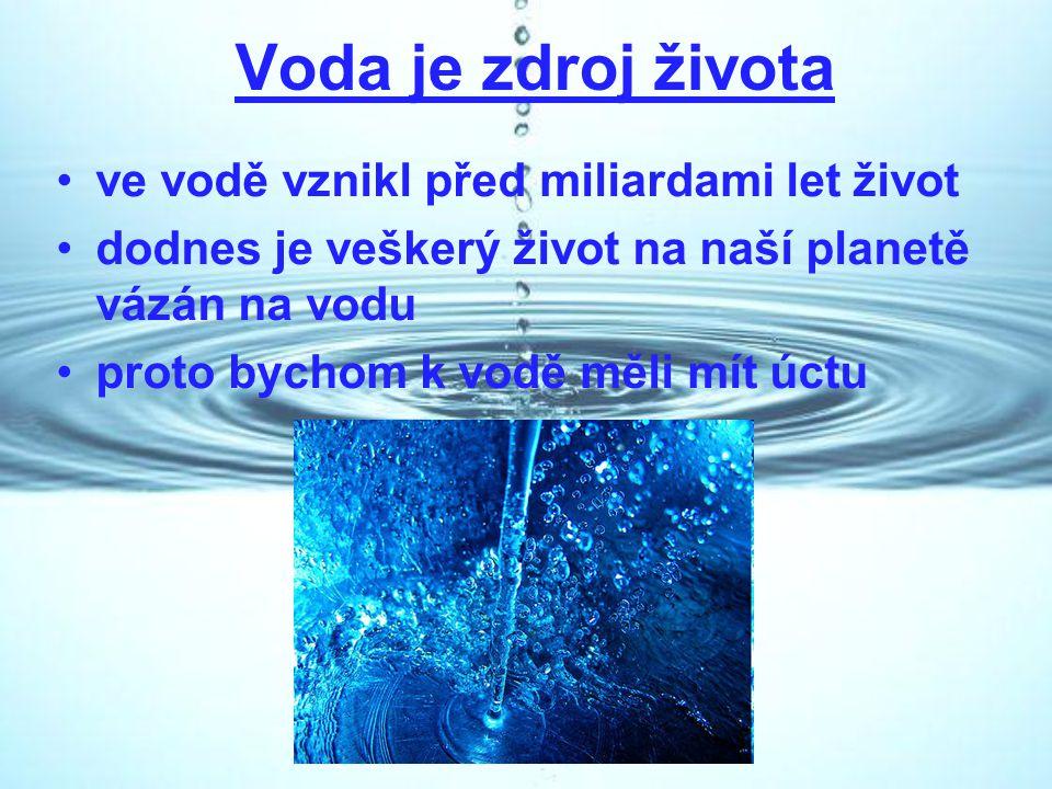 Voda je zdroj života ve vodě vznikl před miliardami let život dodnes je veškerý život na naší planetě vázán na vodu proto bychom k vodě měli mít úctu