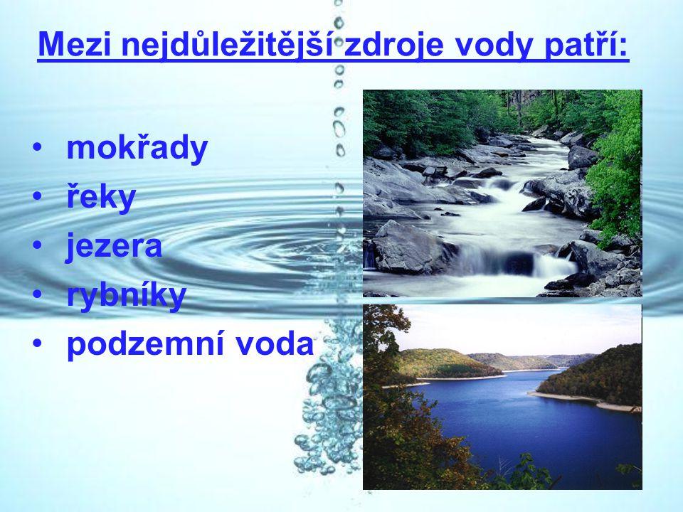 Mezi nejdůležitější zdroje vody patří: mokřady řeky jezera rybníky podzemní voda
