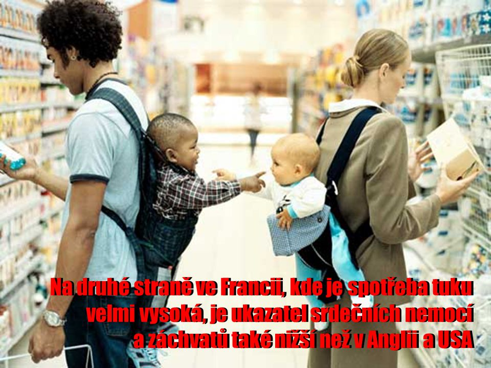 Na druhé straně ve Francii, kde je spotřeba tuku velmi vysoká, je ukazatel srdečních nemocí a záchvatů také nižší než v Anglii a USA