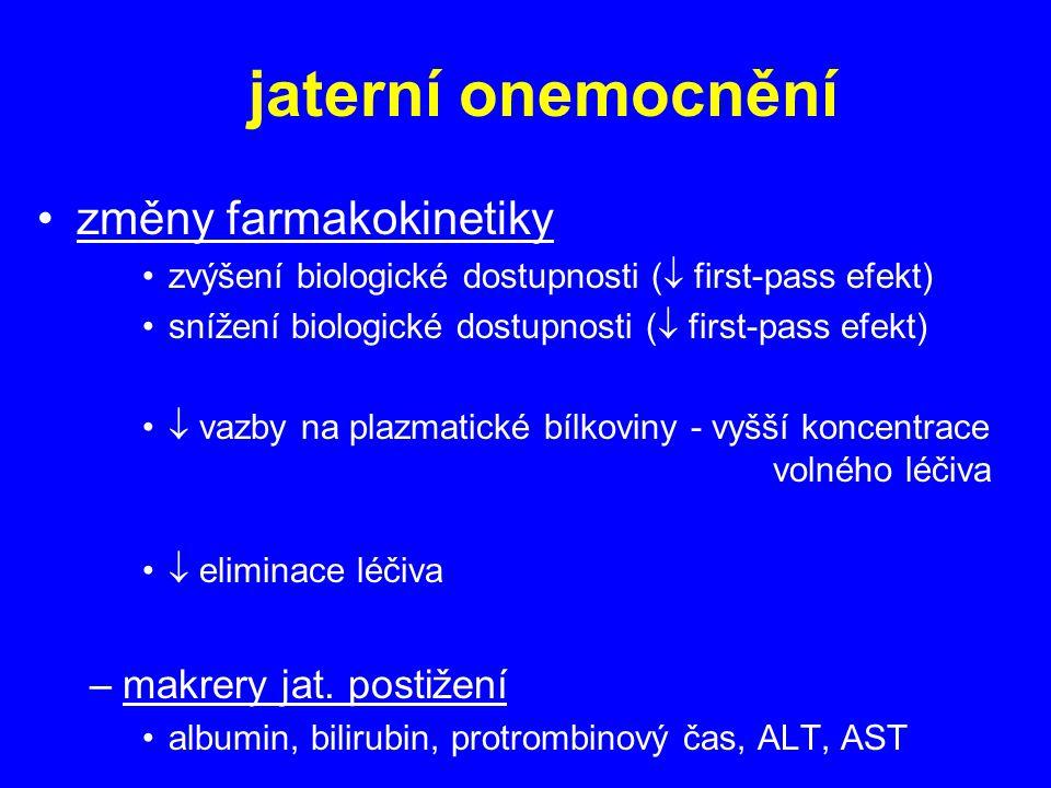 jaterní onemocnění změny farmakokinetiky zvýšení biologické dostupnosti (  first-pass efekt) snížení biologické dostupnosti (  first-pass efekt)  vazby na plazmatické bílkoviny - vyšší koncentrace volného léčiva  eliminace léčiva –makrery jat.