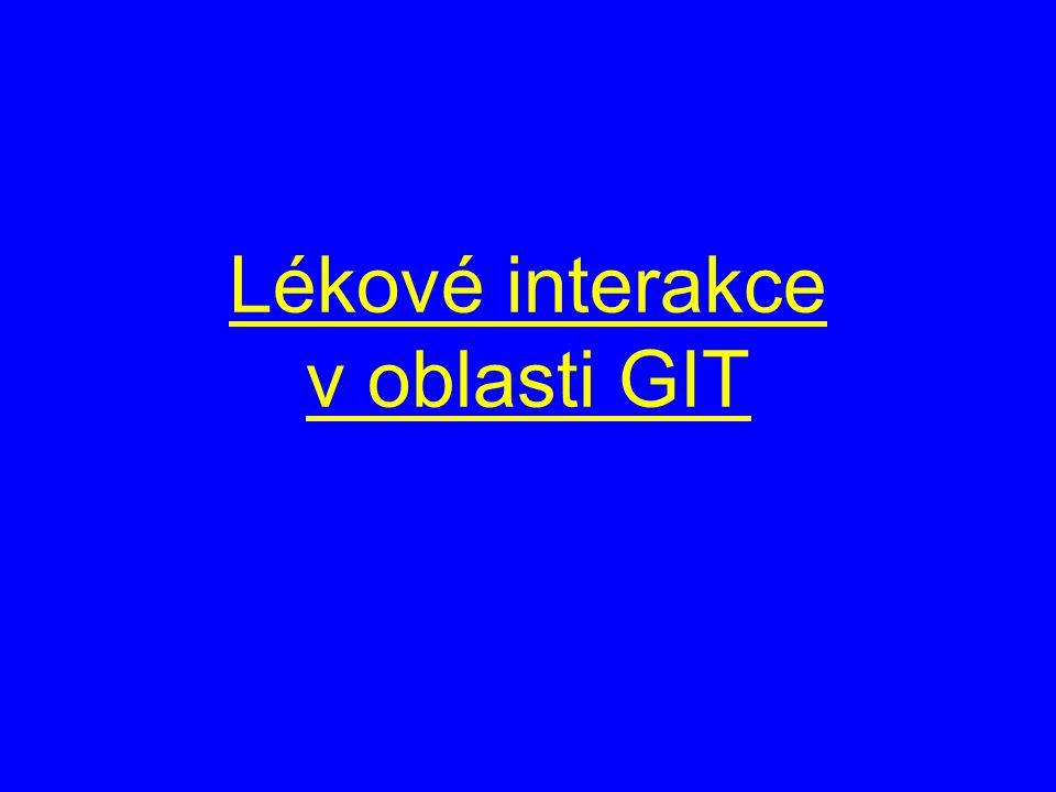 Lékové interakce v oblasti GIT