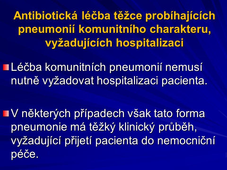 Antibiotická léčba těžce probíhajících pneumonií komunitního charakteru, vyžadujících hospitalizaci Léčba komunitních pneumonií nemusí nutně vyžadovat