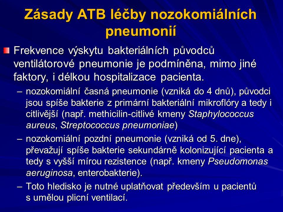 Zásady ATB léčby nozokomiálních pneumonií Frekvence výskytu bakteriálních původců ventilátorové pneumonie je podmíněna, mimo jiné faktory, i délkou ho