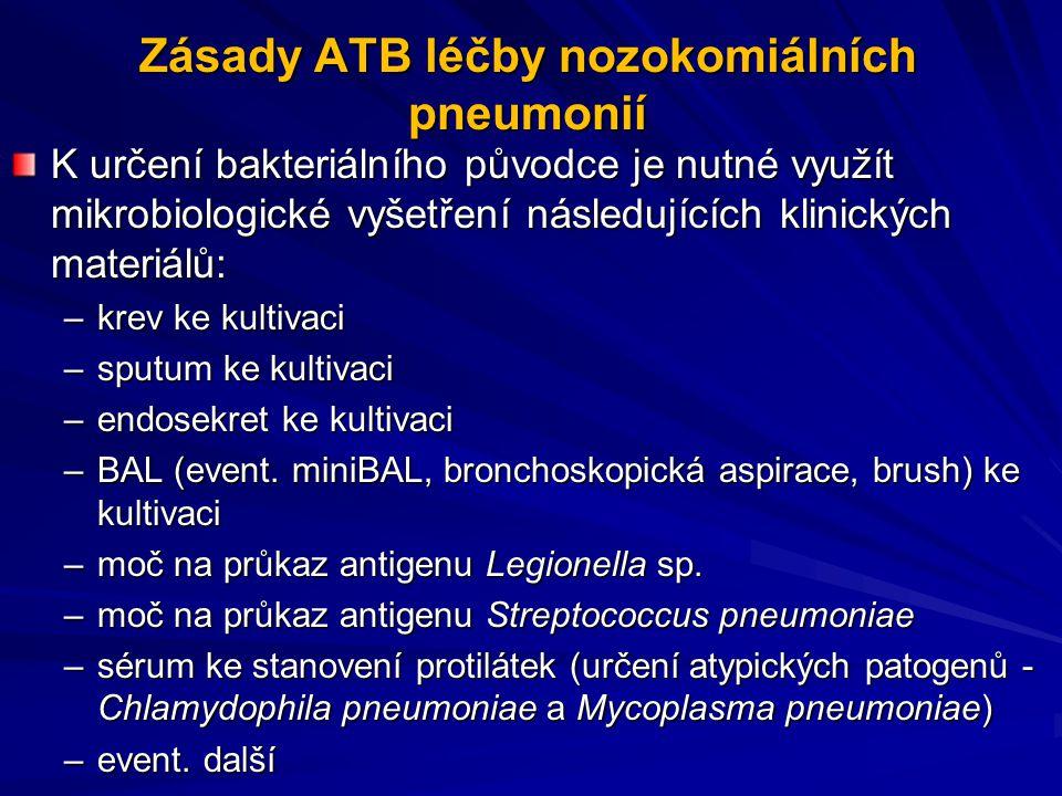Zásady ATB léčby nozokomiálních pneumonií K určení bakteriálního původce je nutné využít mikrobiologické vyšetření následujících klinických materiálů: