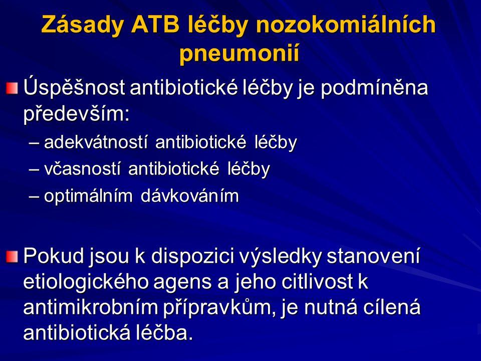 Zásady ATB léčby nozokomiálních pneumonií Úspěšnost antibiotické léčby je podmíněna především: –adekvátností antibiotické léčby –včasností antibiotick
