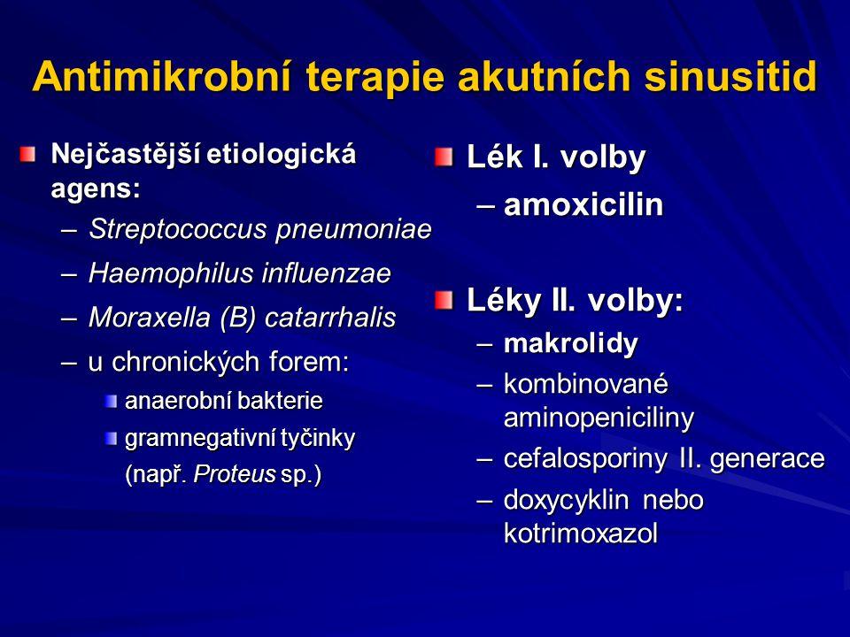 Antimikrobní terapie akutních sinusitid Nejčastější etiologická agens: –Streptococcus pneumoniae –Haemophilus influenzae –Moraxella (B) catarrhalis –u