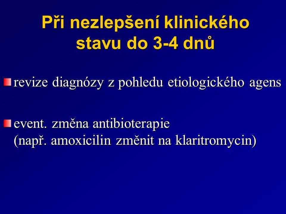 Při nezlepšení klinického stavu do 3-4 dnů revize diagnózy z pohledu etiologického agens event. změna antibioterapie (např. amoxicilin změnit na klari