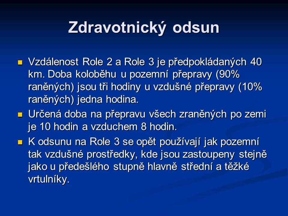 Zdravotnický odsun Vzdálenost Role 2 a Role 3 je předpokládaných 40 km. Doba koloběhu u pozemní přepravy (90% raněných) jsou tři hodiny u vzdušné přep