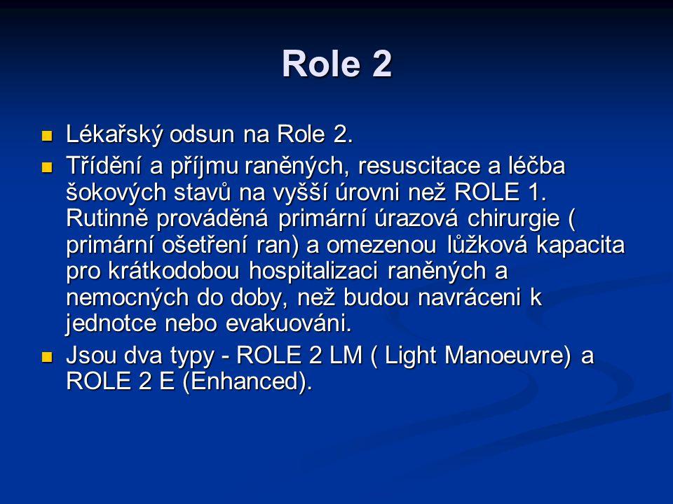 Role 2 Lékařský odsun na Role 2. Lékařský odsun na Role 2. Třídění a příjmu raněných, resuscitace a léčba šokových stavů na vyšší úrovni než ROLE 1. R