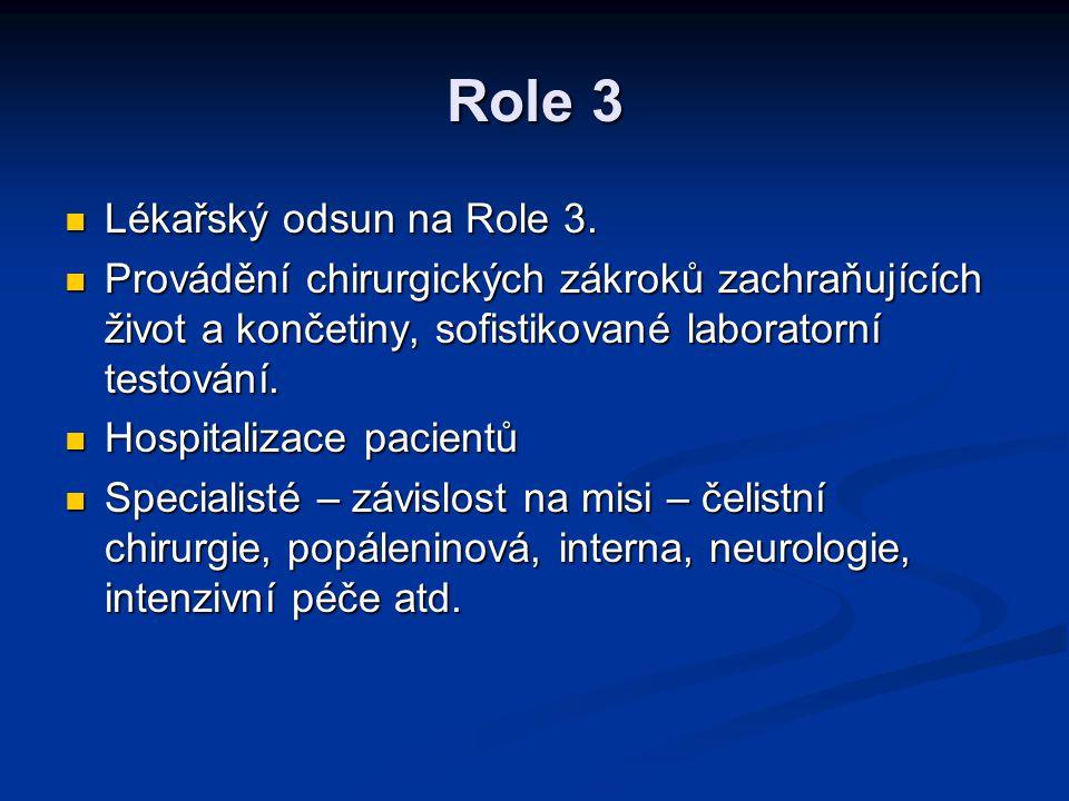 Role 3 Lékařský odsun na Role 3. Lékařský odsun na Role 3. Provádění chirurgických zákroků zachraňujících život a končetiny, sofistikované laboratorní
