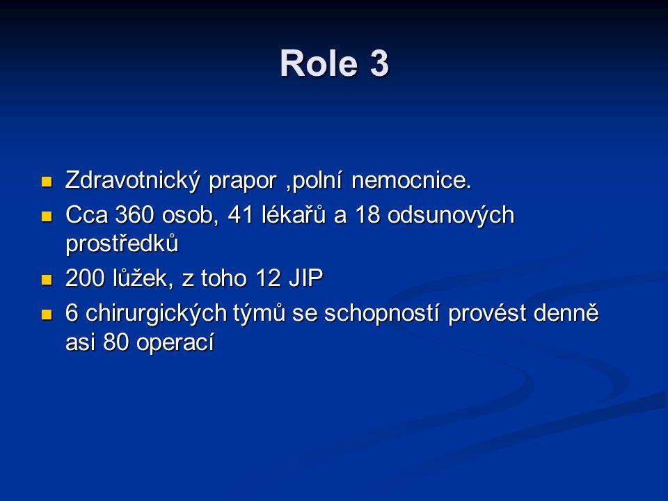 Role 3 Zdravotnický prapor,polní nemocnice. Zdravotnický prapor,polní nemocnice. Cca 360 osob, 41 lékařů a 18 odsunových prostředků Cca 360 osob, 41 l