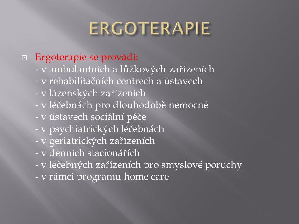  Ergoterapie se provádí: - v ambulantních a lůžkových zařízeních - v rehabilitačních centrech a ústavech - v lázeňských zařízeních - v léčebnách pro