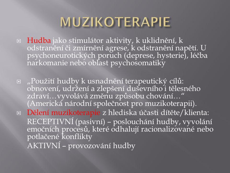  Hudba jako stimulátor aktivity, k uklidnění, k odstranění či zmírnění agrese, k odstranění napětí. U psychoneurotických poruch (deprese, hysterie),