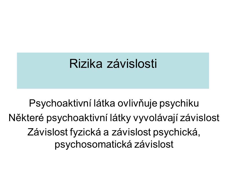 Rizika závislosti Psychoaktivní látka ovlivňuje psychiku Některé psychoaktivní látky vyvolávají závislost Závislost fyzická a závislost psychická, psy