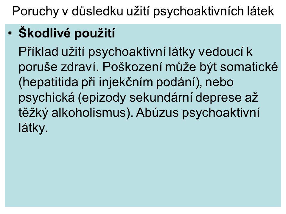 Poruchy v důsledku užití psychoaktivních látek Škodlivé použití Příklad užití psychoaktivní látky vedoucí k poruše zdraví. Poškození může být somatick