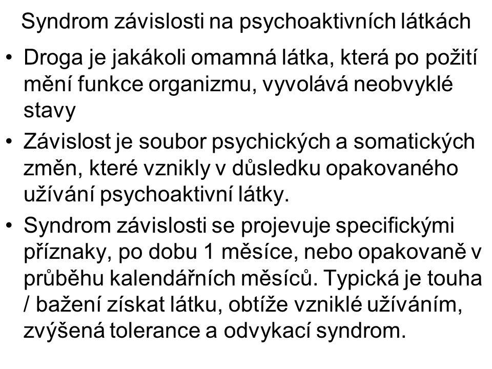 Syndrom závislosti na psychoaktivních látkách Droga je jakákoli omamná látka, která po požití mění funkce organizmu, vyvolává neobvyklé stavy Závislos