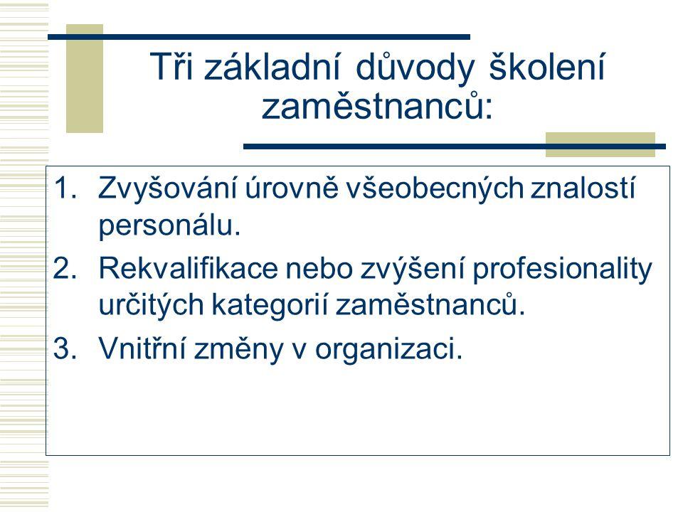 Tři základní důvody školení zaměstnanců: 1.Zvyšování úrovně všeobecných znalostí personálu. 2.Rekvalifikace nebo zvýšení profesionality určitých kateg
