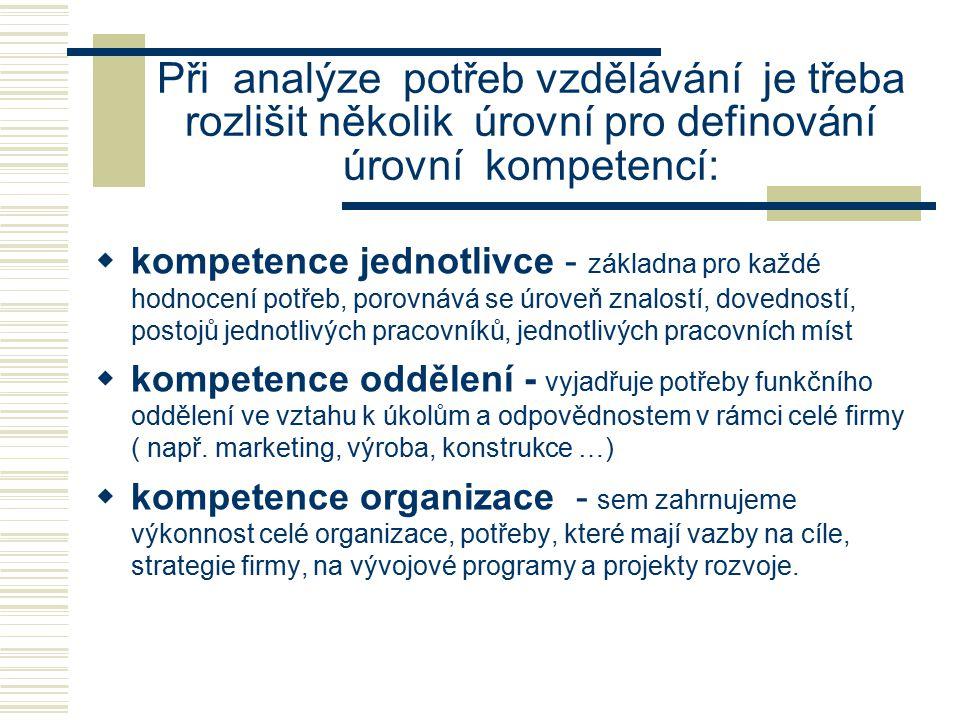 Při analýze potřeb vzdělávání je třeba rozlišit několik úrovní pro definování úrovní kompetencí:  kompetence jednotlivce - základna pro každé hodnoce