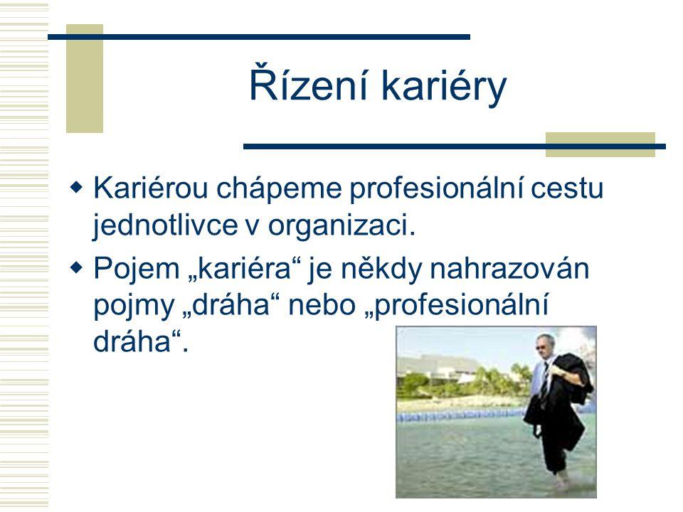 """Řízení kariéry  Kariérou chápeme profesionální cestu jednotlivce v organizaci.  Pojem """"kariéra"""" je někdy nahrazován pojmy """"dráha"""" nebo """"profesionáln"""
