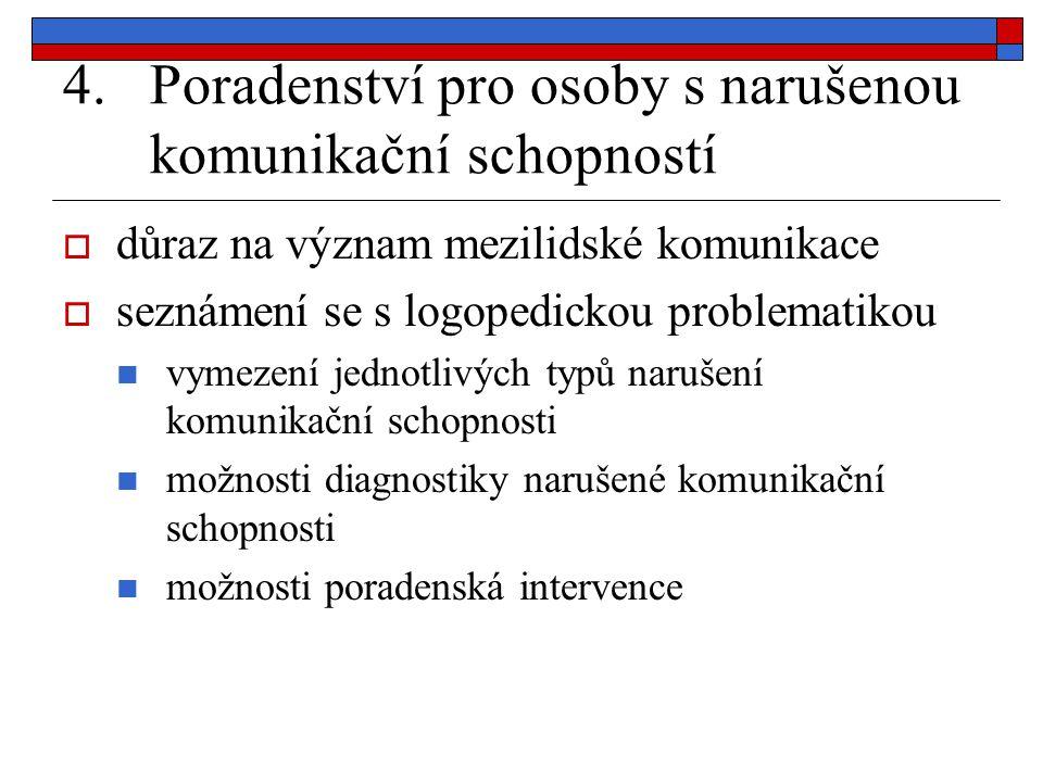 4.Poradenství pro osoby s narušenou komunikační schopností  důraz na význam mezilidské komunikace  seznámení se s logopedickou problematikou vymezen