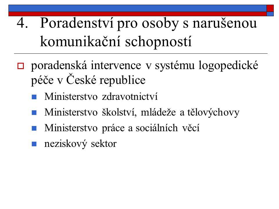 4.Poradenství pro osoby s narušenou komunikační schopností  poradenská intervence v systému logopedické péče v České republice Ministerstvo zdravotni