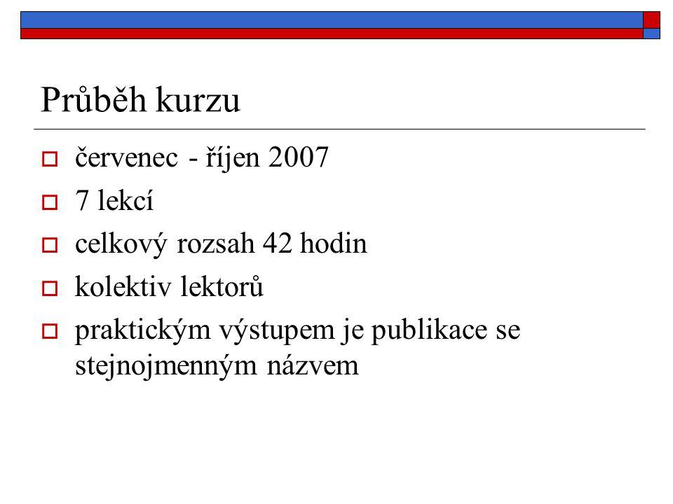 Průběh kurzu  červenec - říjen 2007  7 lekcí  celkový rozsah 42 hodin  kolektiv lektorů  praktickým výstupem je publikace se stejnojmenným názvem