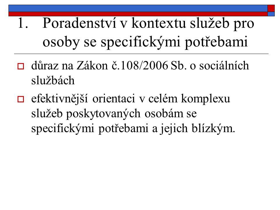 1.Poradenství v kontextu služeb pro osoby se specifickými potřebami  důraz na Zákon č.108/2006 Sb. o sociálních službách  efektivnější orientaci v c