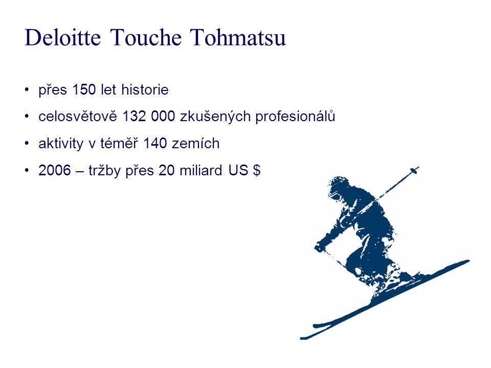 Deloitte Touche Tohmatsu přes 150 let historie celosvětově 132 000 zkušených profesionálů aktivity v téměř 140 zemích 2006 – tržby přes 20 miliard US $