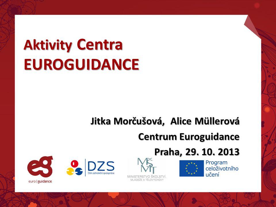 Aktivity Centra EUROGUIDANCE Jitka Morčušová, Alice Müllerová Centrum Euroguidance Praha, 29. 10. 2013