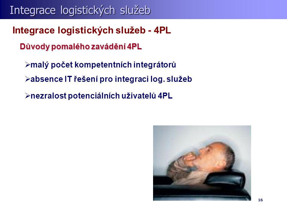 Integrace logistických služeb Integrace logistických služeb 16 Integrace logistických služeb - 4PL  malý počet kompetentních integrátorů  absence IT