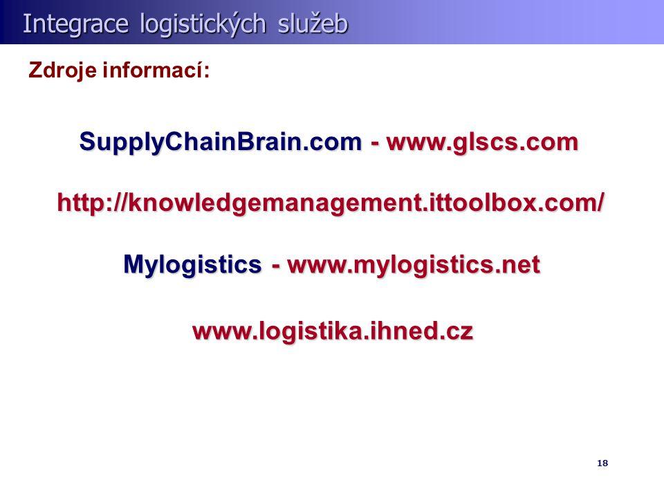 Integrace logistických služeb Integrace logistických služeb 18 Zdroje informací: SupplyChainBrain.com - www.glscs.com http://knowledgemanagement.ittoolbox.com/ Mylogistics - www.mylogistics.net www.logistika.ihned.cz