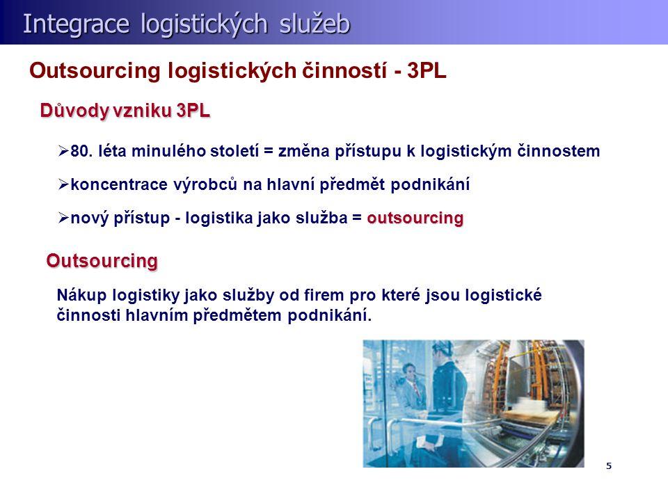 Integrace logistických služeb Integrace logistických služeb 5 Outsourcing logistických činností - 3PL  80. léta minulého století = změna přístupu k l