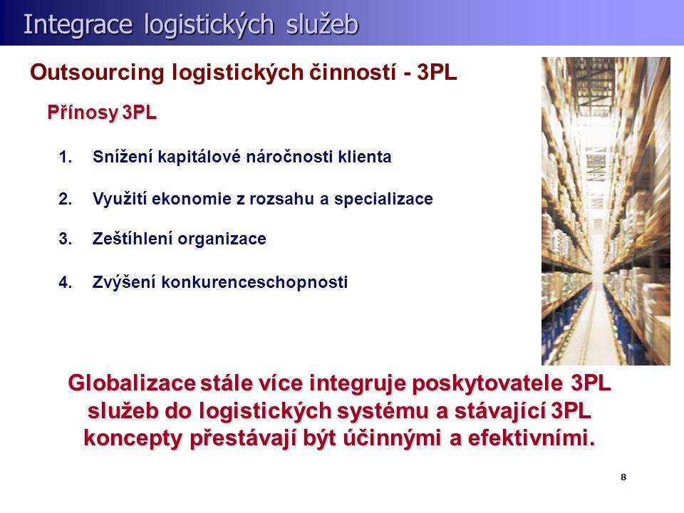 Integrace logistických služeb Integrace logistických služeb 8 Outsourcing logistických činností - 3PL Přínosy 3PL Globalizace stále více integruje poskytovatele 3PL služeb do logistických systému a stávající 3PL koncepty přestávají být účinnými a efektivními.