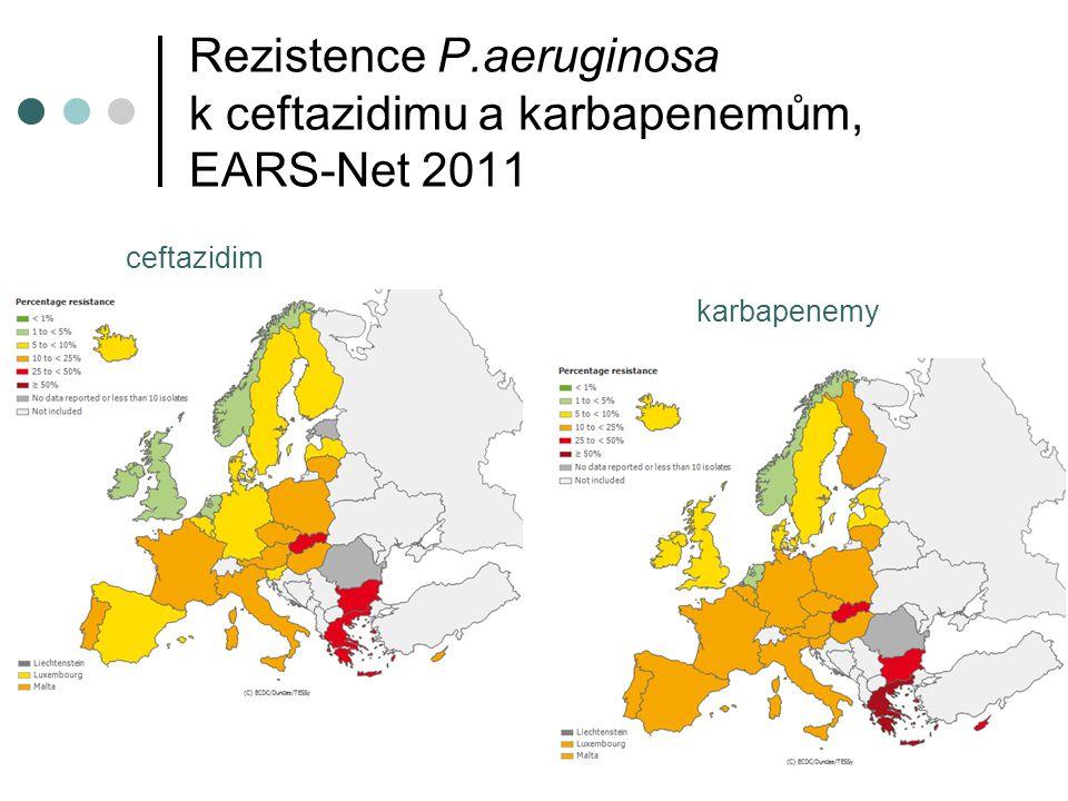 Rezistence P.aeruginosa k ceftazidimu a karbapenemům, EARS-Net 2011 karbapenemy ceftazidim