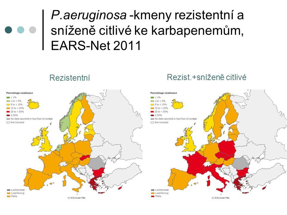 P.aeruginosa -kmeny rezistentní a sníženě citlivé ke karbapenemům, EARS-Net 2011 Rezistentní Rezist.+sníženě citlivé