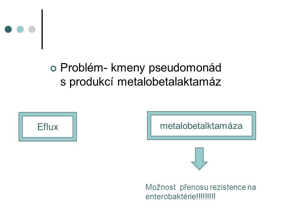 Problém- kmeny pseudomonád s produkcí metalobetalaktamáz Eflux metalobetalktamáza Možnost přenosu rezistence na enterobaktérie!!!!!!!!!