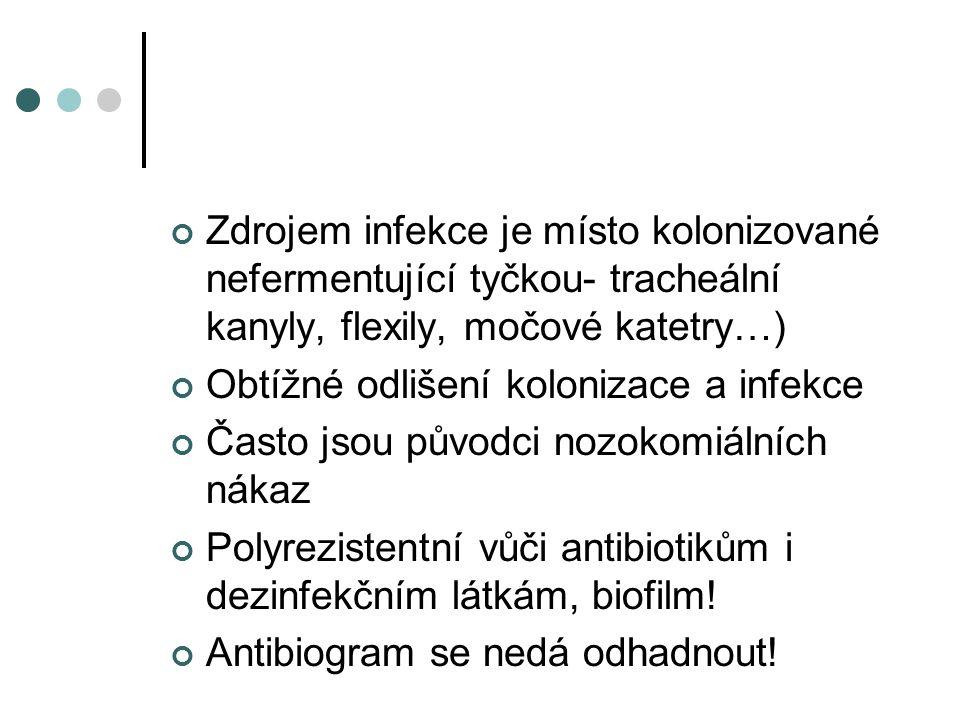 Zdrojem infekce je místo kolonizované nefermentující tyčkou- tracheální kanyly, flexily, močové katetry…) Obtížné odlišení kolonizace a infekce Často