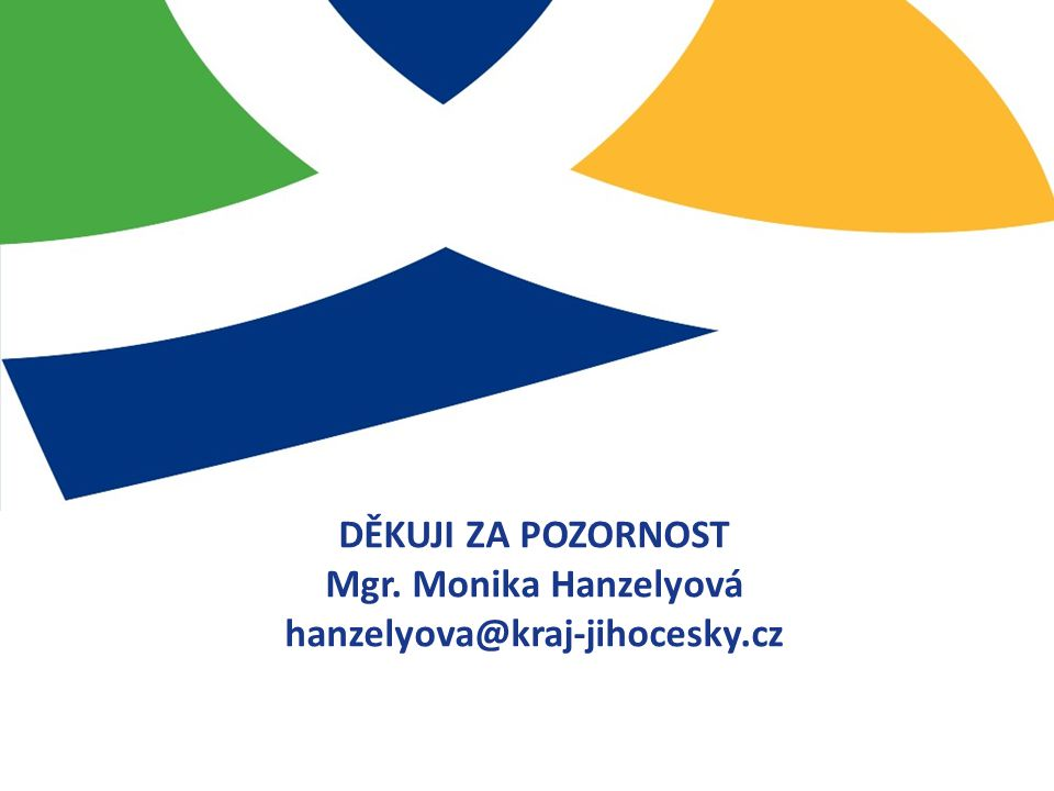 DĚKUJI ZA POZORNOST Mgr. Monika Hanzelyová hanzelyova@kraj-jihocesky.cz
