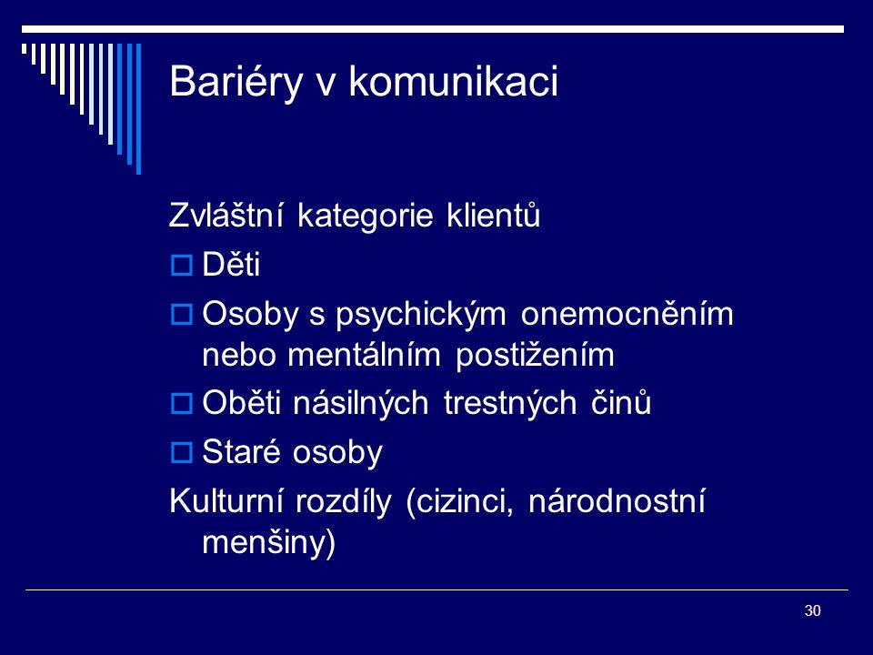 30 Bariéry v komunikaci Zvláštní kategorie klientů  Děti  Osoby s psychickým onemocněním nebo mentálním postižením  Oběti násilných trestných činů  Staré osoby Kulturní rozdíly (cizinci, národnostní menšiny)