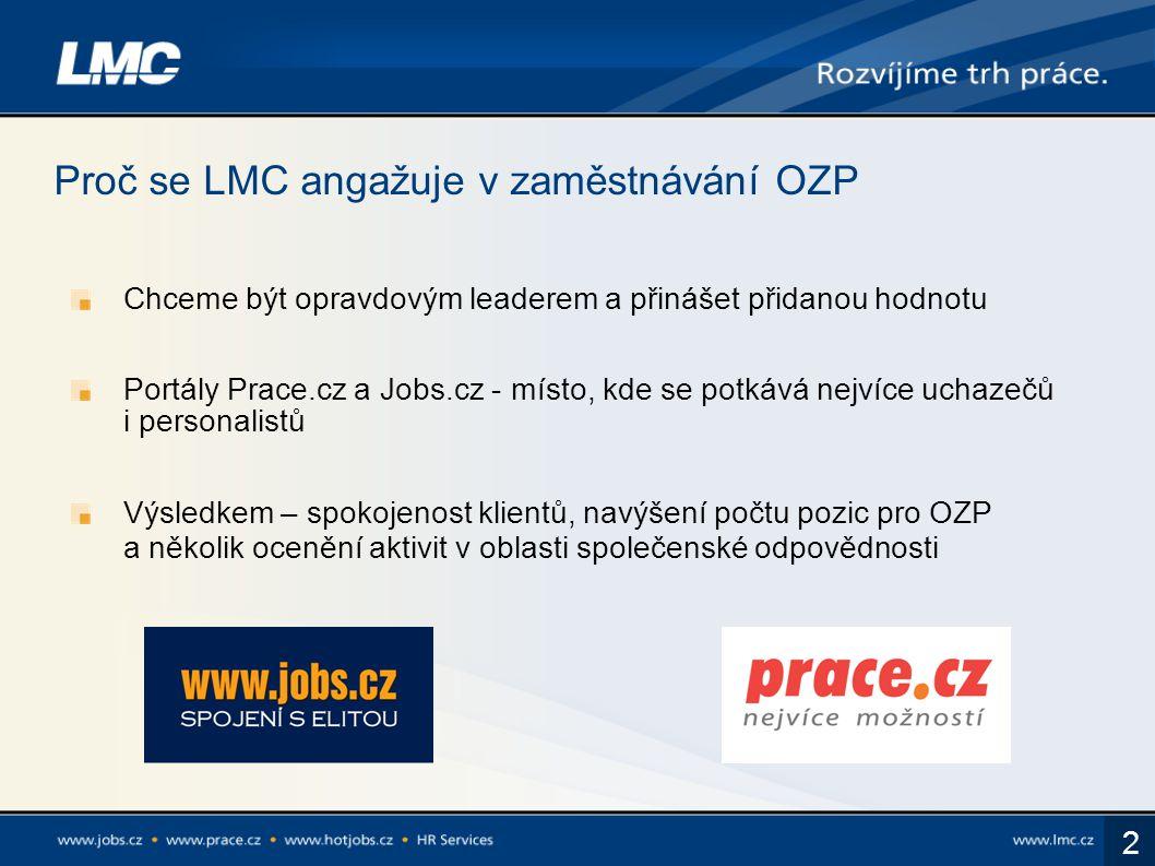 2 Proč se LMC angažuje v zaměstnávání OZP Chceme být opravdovým leaderem a přinášet přidanou hodnotu Portály Prace.cz a Jobs.cz - místo, kde se potkáv
