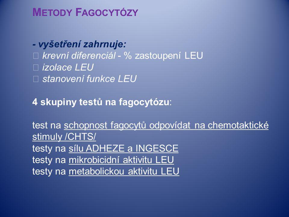  M ETODY F AGOCYTÓZY - vyšetření zahrnuje:  krevní diferenciál - % zastoupení LEU  izolace LEU  stanovení funkce LEU 4 skupiny testů na fagocytózu