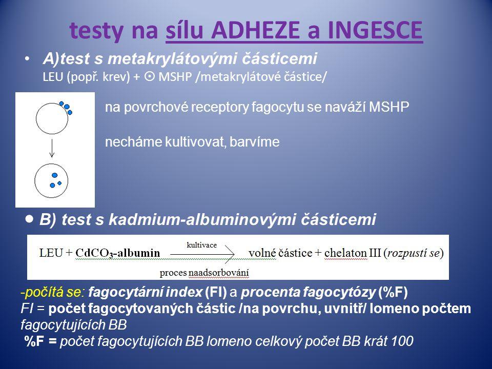 testy na sílu ADHEZE a INGESCE A)test s metakrylátovými částicemi LEU (popř. krev) +  MSHP /metakrylátové částice/ na  B) test s kadmium-albuminovým