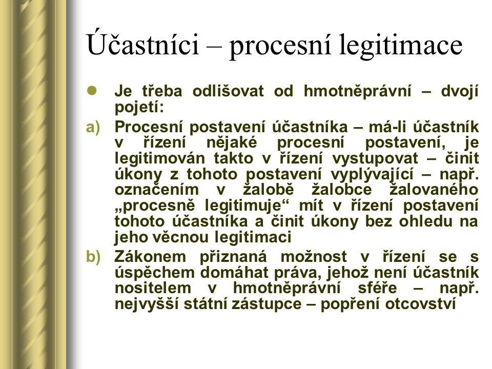 Účastníci – procesní legitimace Je třeba odlišovat od hmotněprávní – dvojí pojetí: a)Procesní postavení účastníka – má-li účastník v řízení nějaké pro