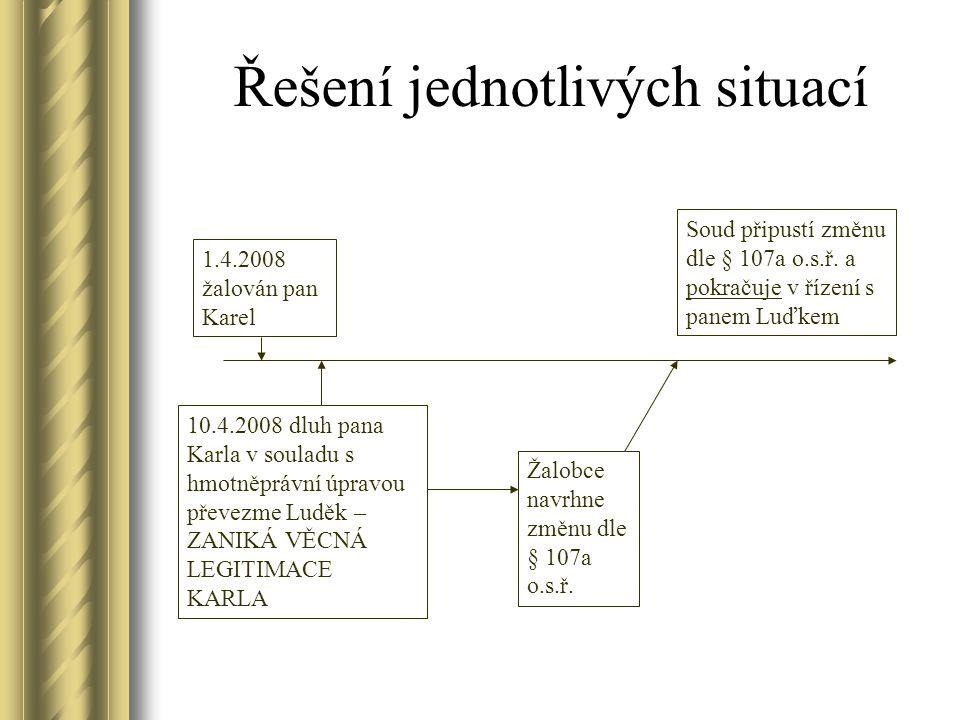 Řešení jednotlivých situací 1.4.2008 žalován pan Karel 10.4.2008 dluh pana Karla v souladu s hmotněprávní úpravou převezme Luděk – ZANIKÁ VĚCNÁ LEGITI