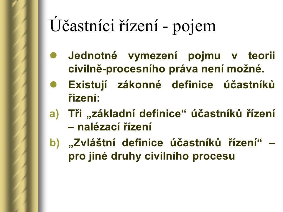 Účastníci řízení - pojem Jednotné vymezení pojmu v teorii civilně-procesního práva není možné.