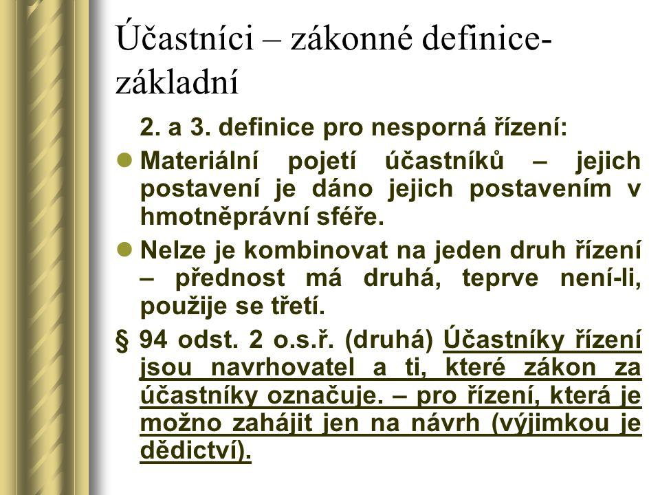 Účastníci – zákonné definice- základní 2. a 3. definice pro nesporná řízení: Materiální pojetí účastníků – jejich postavení je dáno jejich postavením