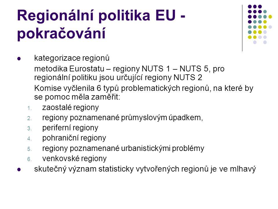 Regionální politika EU - pokračování kategorizace regionů metodika Eurostatu – regiony NUTS 1 – NUTS 5, pro regionální politiku jsou určující regiony NUTS 2 Komise vyčlenila 6 typů problematických regionů, na které by se pomoc měla zaměřit: 1.