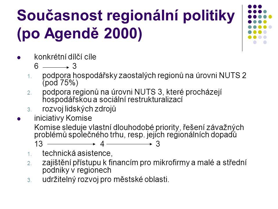 Současnost regionální politiky (po Agendě 2000) konkrétní dílčí cíle 63 1.