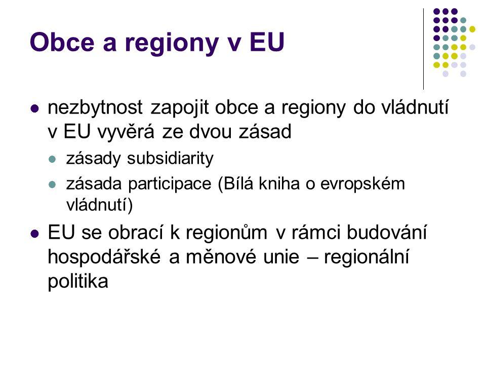 Obce a regiony v EU nezbytnost zapojit obce a regiony do vládnutí v EU vyvěrá ze dvou zásad zásady subsidiarity zásada participace (Bílá kniha o evropském vládnutí) EU se obrací k regionům v rámci budování hospodářské a měnové unie – regionální politika